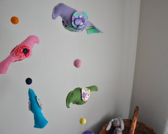 Bird Baby Crib Mobile in multicolors, ready to ship