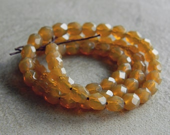 Milky Toffee Czech Glass  Beads, Fire Polished beads, Faceted Round beads, Opal toffee, 6mm (100pcs) N E W