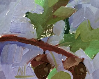 Acorns Original Oil Painting by Angela Moulton 4 x 4 inch on Paper