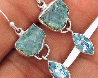 Aquamarine Earrings Aquamarine Raw Nugget Earrings with Blue Topaz in Sterling Silver Rough Aquamarine Gemstone Nugget Earrings