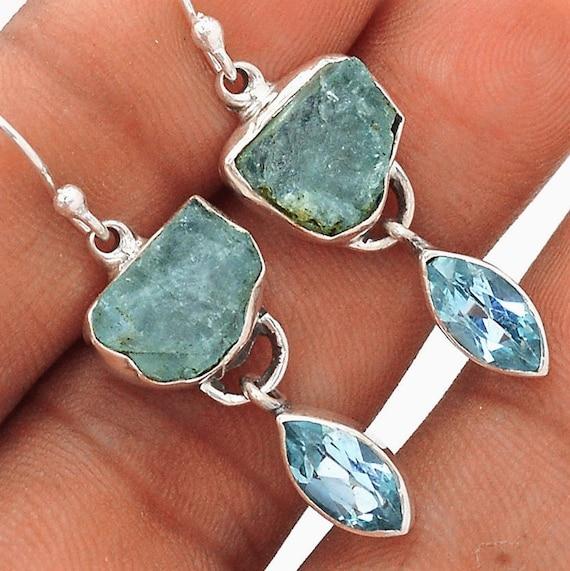 Aquamarine Gemstone Earrings: Aquamarine Earrings Aquamarine Raw Nugget Earrings With Blue