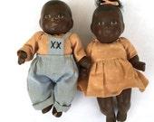 Vintage Black Bisque Dolls Twin Baby Dolls Jointed Dolls