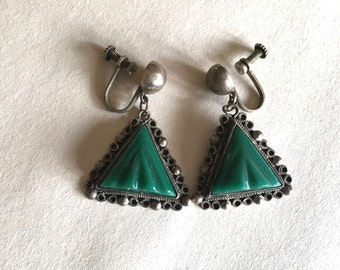 Vintage Mexican Sterling Screwback Earrings Green Onyx Mexican Jade AHS Guad. 925 and Hinged Box