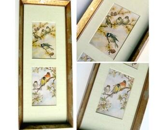 Framed Bird Prints, Double Matted Framed Bird Prints, Gold Silver Leaf Framed Bird Prints, Vintage Bird Prints, Asian Framed Bird Prints