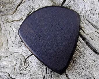 Wooden Jazz Stubby Guitar Pick - Premium Quality - Handmade With African Blackwood - Actual Pick Shown - Artisan Guitar Pick - Mini Pick