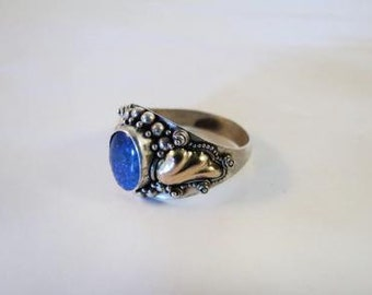 Sterling Silver Gold Plated Blue Cabochon Ring