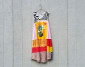 Music DJ Monkey Owl whimsical beach dress tunic upcycled clothing Patchwork Dress Eco Dress Artsy Dress by CreoleSha