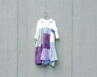 funky white purple cotton tunic upcycled romantic Upcycled clothing Patchwork Dress Eco Dress / Artsy Dress by CreoleSha