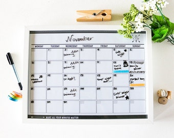 Monthly Planner Bundle ~ Framed Undated Wall Planner + dry erase marker ~ Family Wall Calendar / Meal Planner ~ 2017