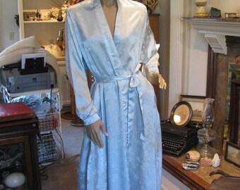 Vintage Christian Dior -  New York - Pastel Blue Polyester Dressing Gown Full Length - Robe