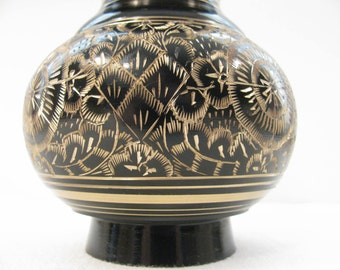 Black on Brass Jar from India - Gorgeous and Unusual  - Hand Carved Design - Screw Lid