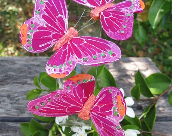 3 - fuchsia Feathers  Butterflies Hair Clips for weddings