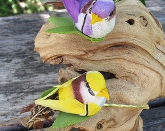 2- PURPLE and YELLOW BIRD - Bobby Pins -  for weddings -