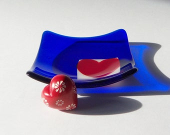 Cobalt BLue with a Red Heart Fused GLass Art Dish // Sweetheart // Engagement // WEdding // Candy // Display // Trinket // Fathers Day// Fun