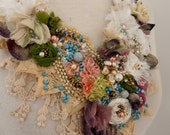RESERVED FOR LASHELL wedding shabby chic necklace beaded necklace, boho beaded flower neckpiece,  textile necklace, beaded bib necklace