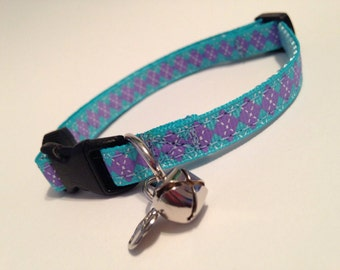 Blue and purple argyle cat collar