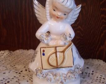 Vintage August Birthday Girl Figurine, White, Gold, Spaghetti Trim, Japan, Napco, Norcrest