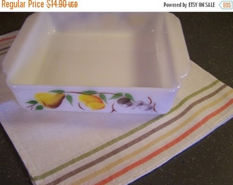 """Valentines SALE Vintage Fire King, 8"""" x 8"""" Casserole Dish, Fruit, Pears, Grapes, Gay Fad,"""