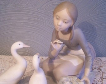 Vintage Lladro Statue, Figurine, 1970s-1980s, Shepherdess w/Ducks, Food For Ducks, Retired, As Is