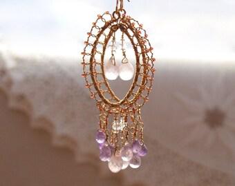 14kt gf Amethyst Rose Quartz Chandelier Earrings