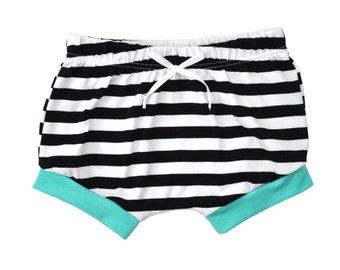 Shorties | Black Stripes and Aqua | Sizes 3 Months to 5T | boy shorts, girl shorts, summer shorts, unisex shorts
