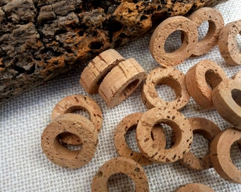 Natural cork discs, bulk 50 pcs, jewelry & home decor projects, craft rings, eco-friendly circles, hoop pendants for necklaces and key rings
