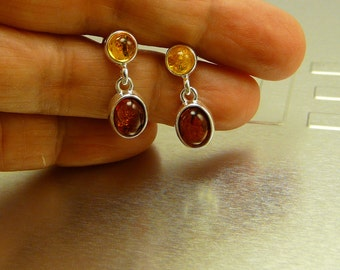 Natural Amber Earrings Sterling Silver .925 in a gift box