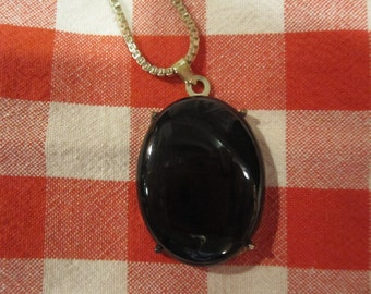 Sterling Silver .925 Necklace with Black Onyx Pendant