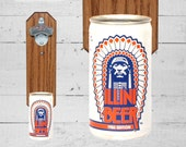Brother Gift Wall Mounted Bottle Opener with Illini Illinois Beer Can Cap Catcher - Groomsmen Gift for Guy
