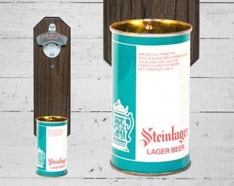 New Zealand Beer Wall Mounted Bottle Opener with Vintage Steinlager Beer Can Cap Catcher - Groomsmen Gift