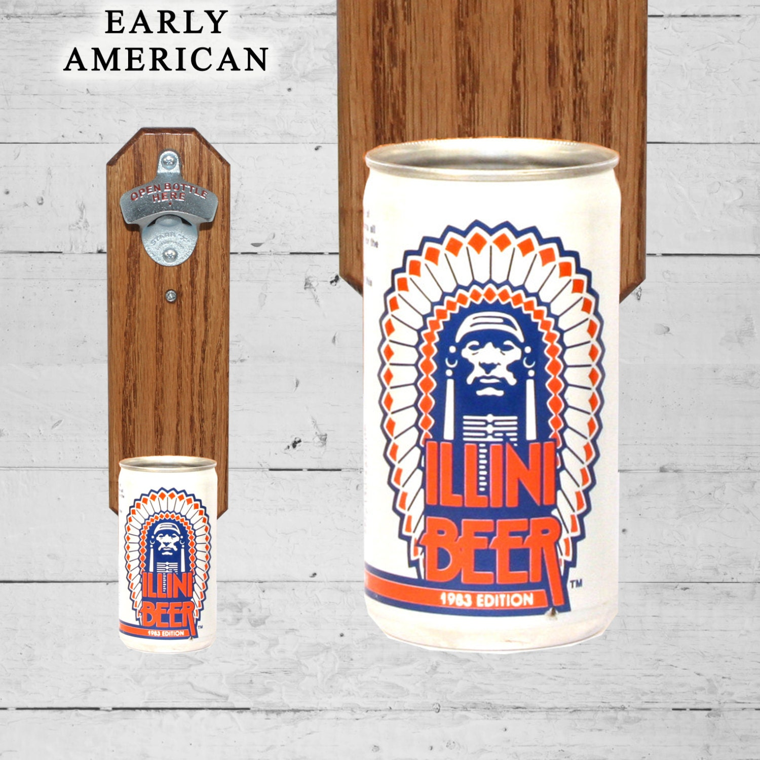 brother gift wall mounted bottle opener with illini illinois. Black Bedroom Furniture Sets. Home Design Ideas