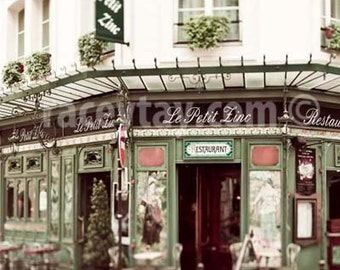Le Petit Zinc, Paris Photography, Beige, Green, French Cafe, Paris Cafe Print, 11x14 or 8x10 Vertical Photo