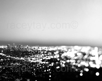 Black and White Los Angeles Photography, City at Night, Urban Surreal Travel Office Decor
