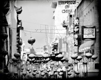 San Francisco Art, Black and White Travel Photography, Chinese Lanterns, Empress of China, SF Chinatown