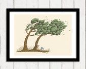 Tree meditation illustration art print