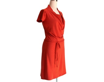 Plus size dress, Terracotta dress, Elegant dress, Short sleeve dress /Long Sleeve dress, Handmade dress, Custom womens dress, Dress