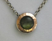 Sterling silver necklace, rose gold pendant,  labradorite necklace, gemstone necklace, silver gold pendant - Green fields forever N8815A