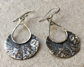 Sterling silver earrings , etched gold earrings, oxidised earrings, long earrings, droplet earrings, dangle earrings - That moment E2125