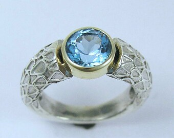 Silver yellow gold ring, stone ring, Blue Topaz Ring, sterling silver ring, gemstone ring, two tones ring, blue stone - Day by day R1227A