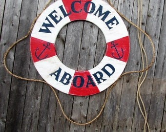 Large Welcome Aboard Wood Life Preserver Sign. Welcome Aboard Sign. Life Preserver Sign. Lake Decor. Beach Decor. Nautical. Made to Order