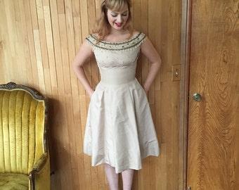 1950s Silk Taffeta Beaded Creme Dress XS