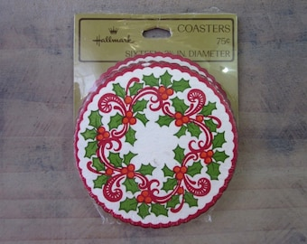 Retro Paper Coasters by Hallmark New in Package Set of 16 Holly Design Christmas Barware