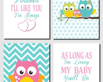 Owl Nursery Decor, Pink Teal Nursery Art, Kids Wall Art, Girls Room, I'll Love You Forever, Baby Girl Nursery, Set of 4, Prints or Canvas
