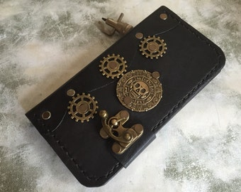 Handmade leather iPhone 6 Plus cover - leather iPhone 6 Plus case - steampunk iPhone case - pirates of the caribbean iPhone case - skull