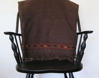 Vintage Southwestern Mexican Handwoven Fringed Blanket Coverlet Rustic Chocolate Brown