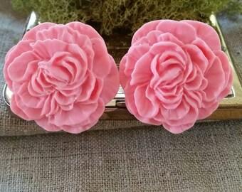 Large Bridal Plugs, Prom Plugs, Flower Plugs, Pink Peonies