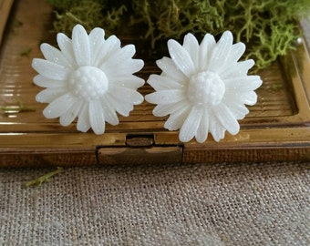 Large Bridal Plugs, Prom Plugs, Flower Plugs, Glitter, White, Sunflowers
