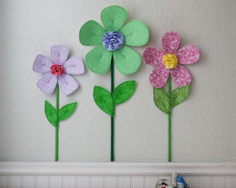 flower wall decal, girls room, nursery decor, wall flowers, 3d art. wall decor. fabric wall flower. lime green flower. baby shower gift