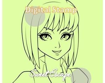 Digital Stamp: Short Hair