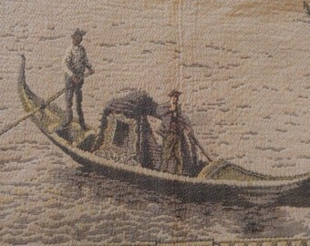Antique TAPESTRY Venetian Scene Wall Hanging